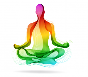 Rainbow colored body in lotus position.