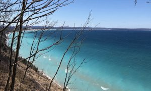 View on Lake Michigan from the bluff at the end of Treat Farm Road