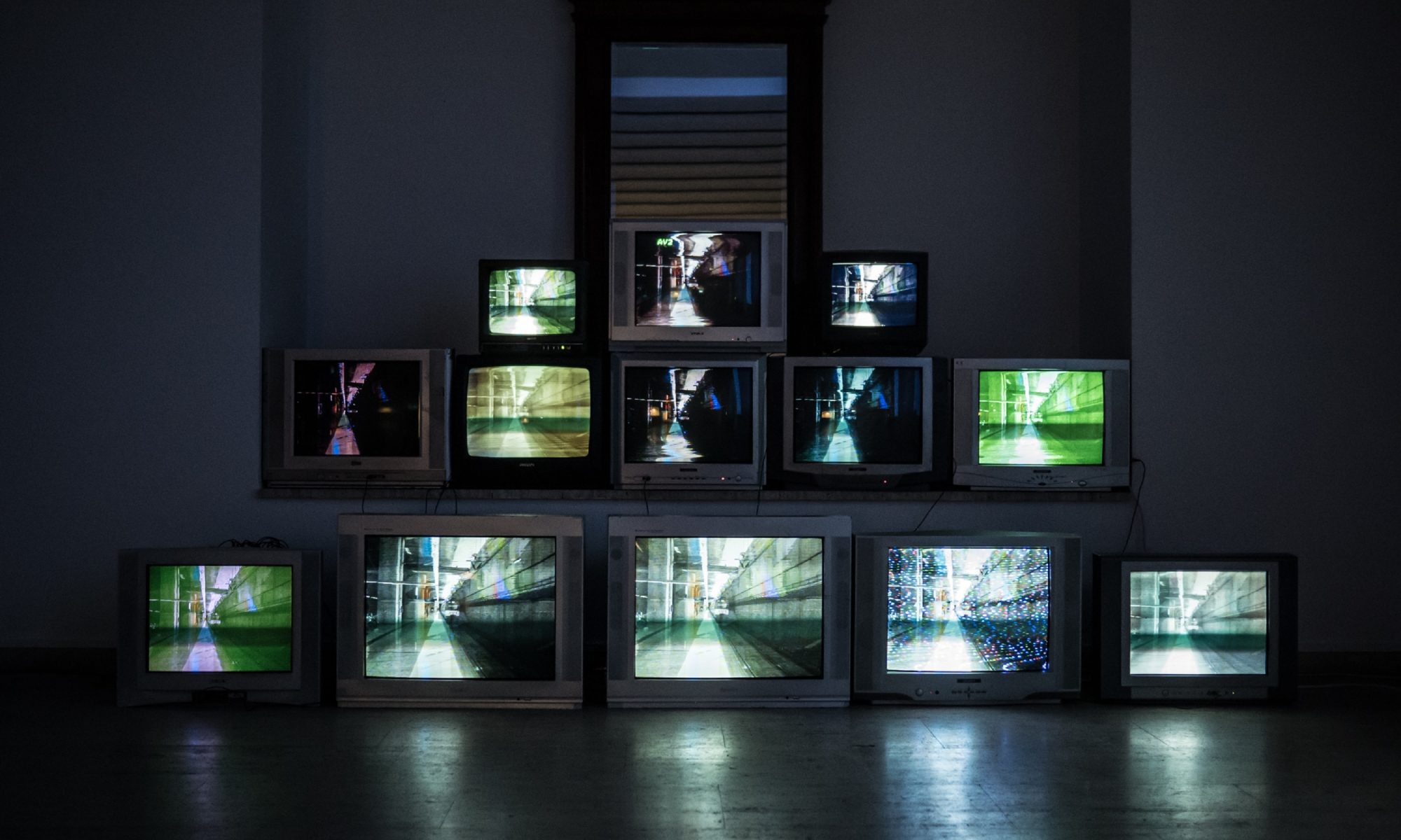 bank of televisions